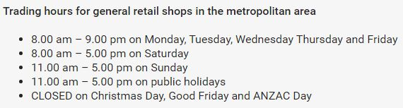 General retail shop hours