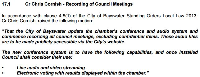Recording of meetings motion